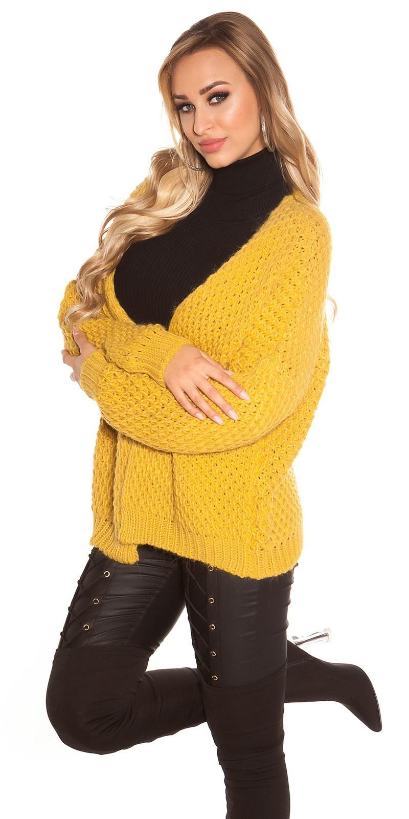 Trendy KouCla chunky knit cardigan Mustard