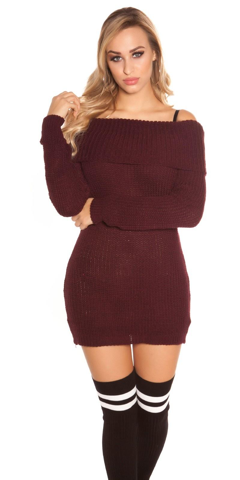 Trendy mini jurkje/lange trui met xl col bordeaux