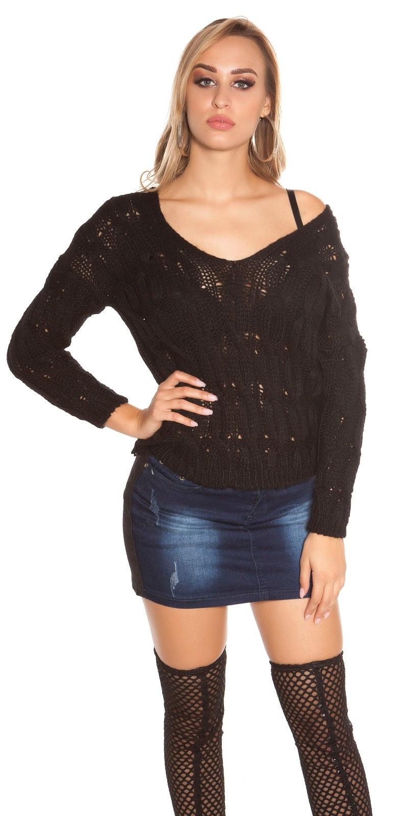 Sexy gebreide trui met kabel patroon zwart
