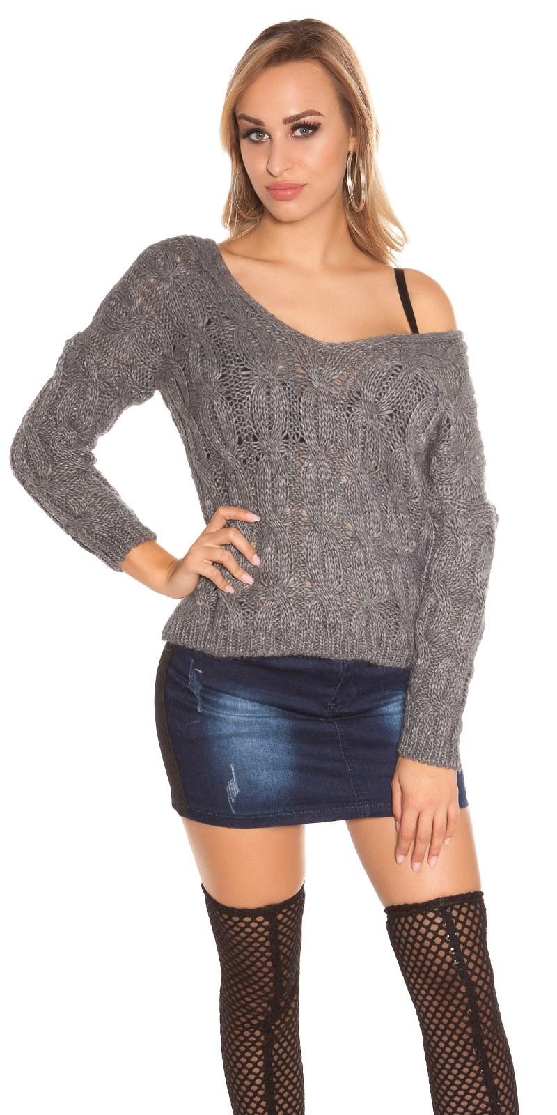 Sexy Koucla knit jumper with cable stitch Grey
