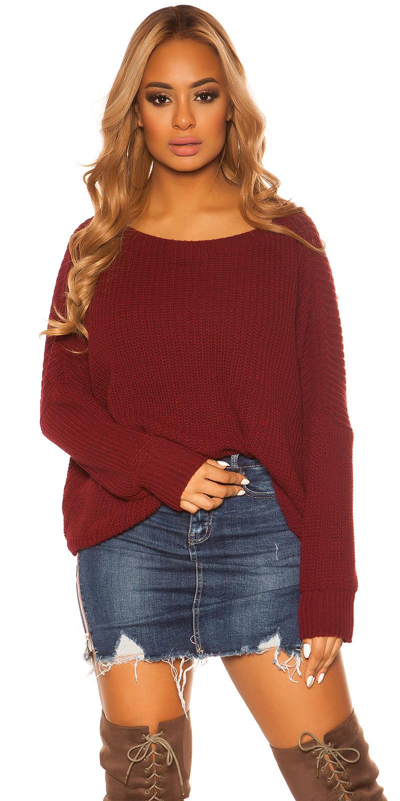 Trendy Koucla rough knit jumper Bordeaux