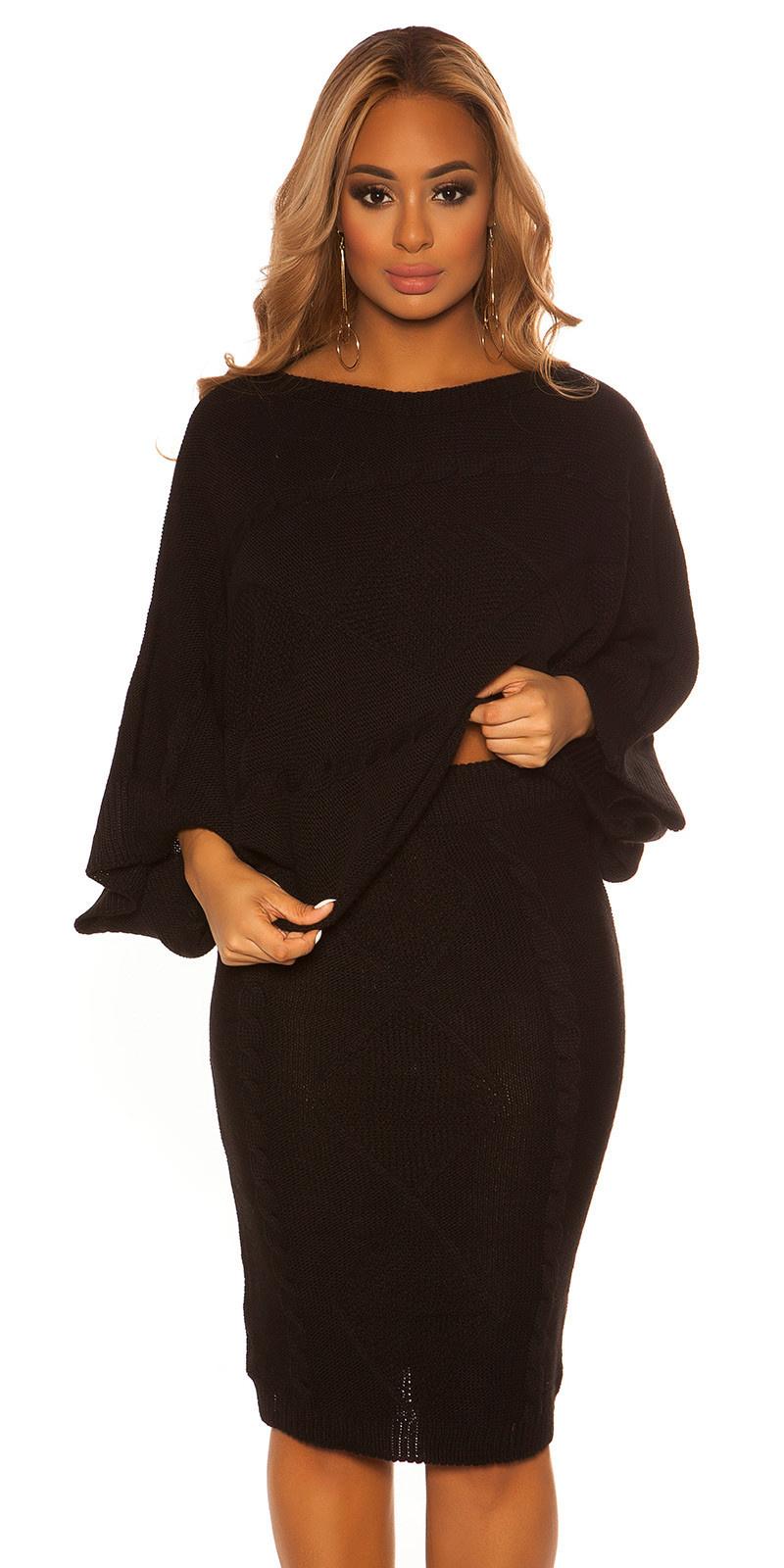 Sexy set korte trui & rok met patroon zwart