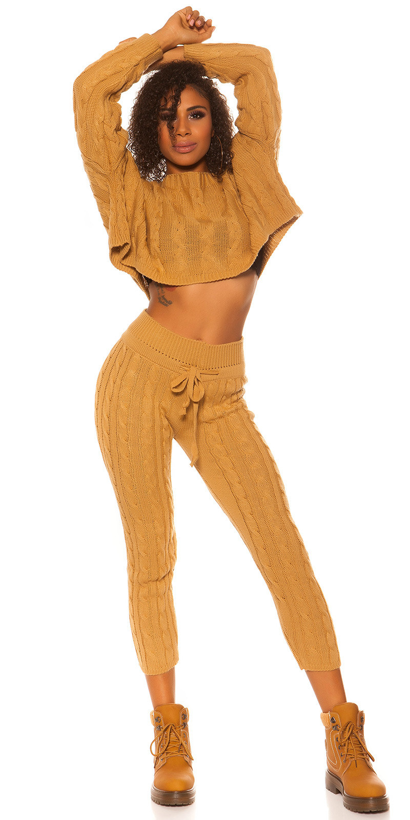 Sexy KouCla rough knit set short jumper + pants Beige