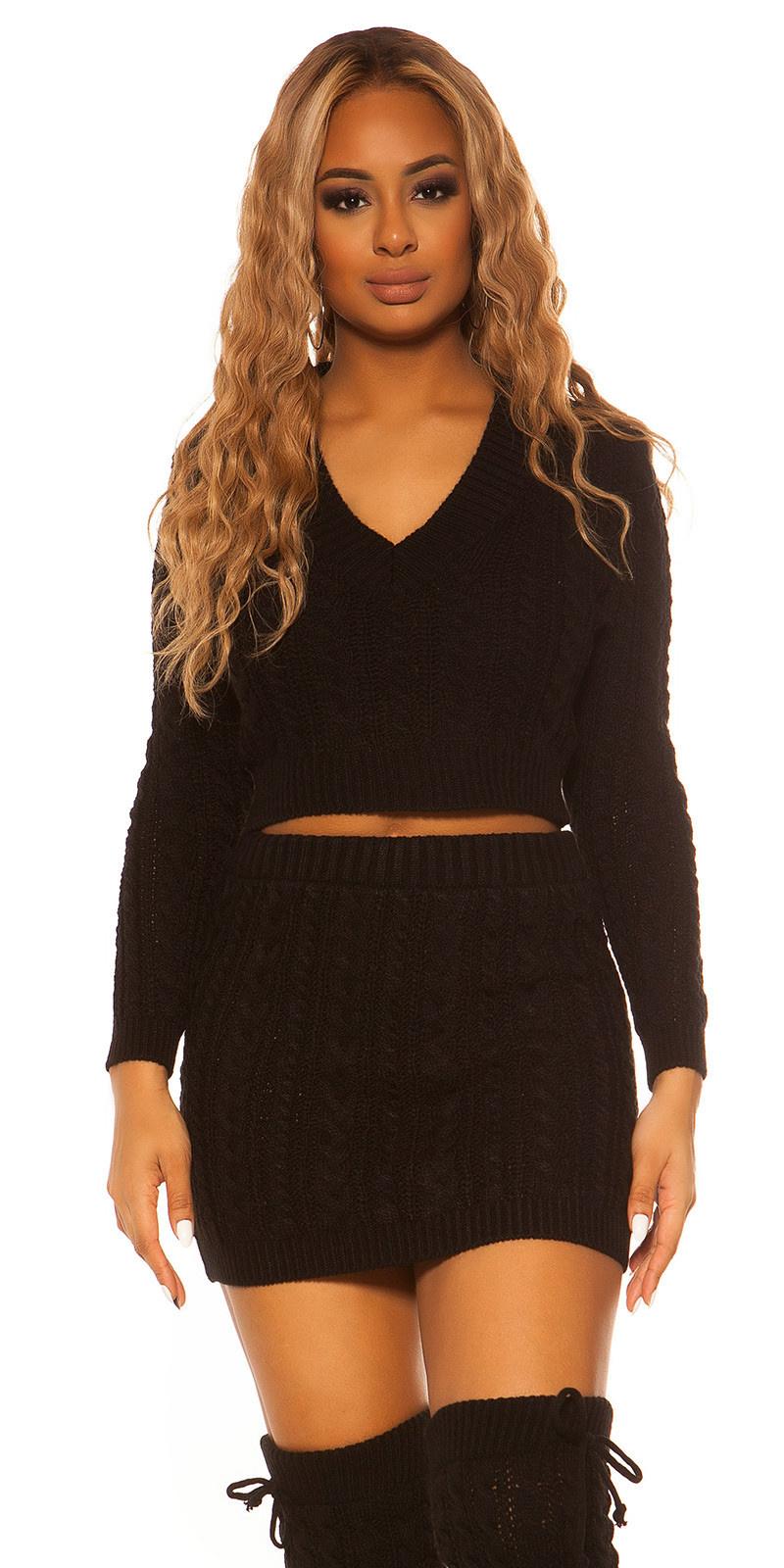 Sexy set ruw gebreide v-hals trui + rok zwart