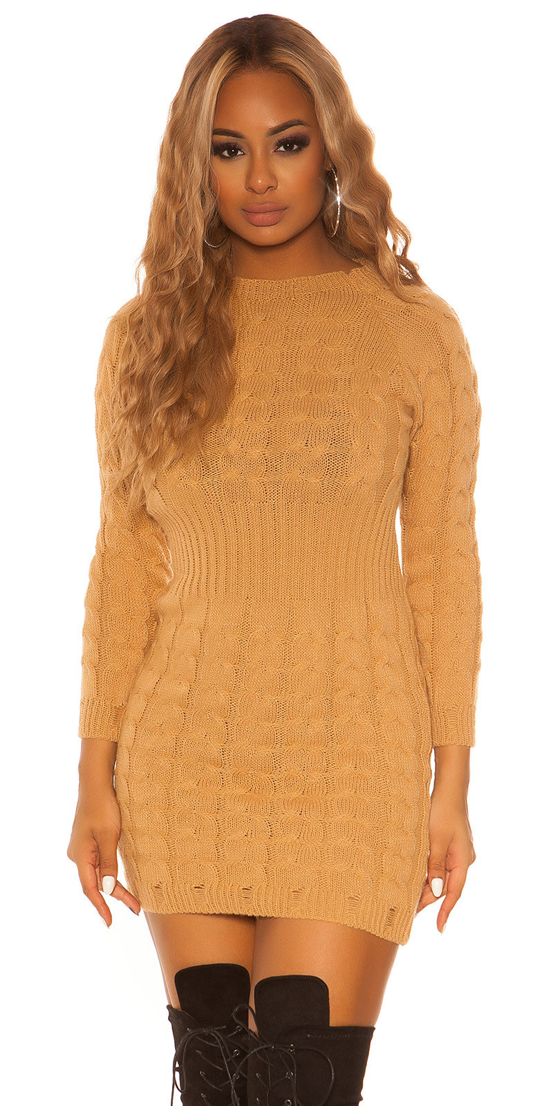 Sexy KouCla roundneck longsleeve knit dress Caramel