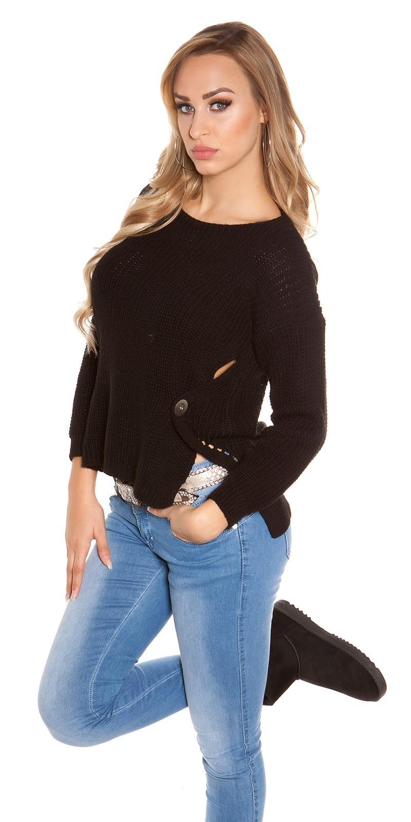 Trendy koucla-hoog/laag-trui met ronde hals zwart
