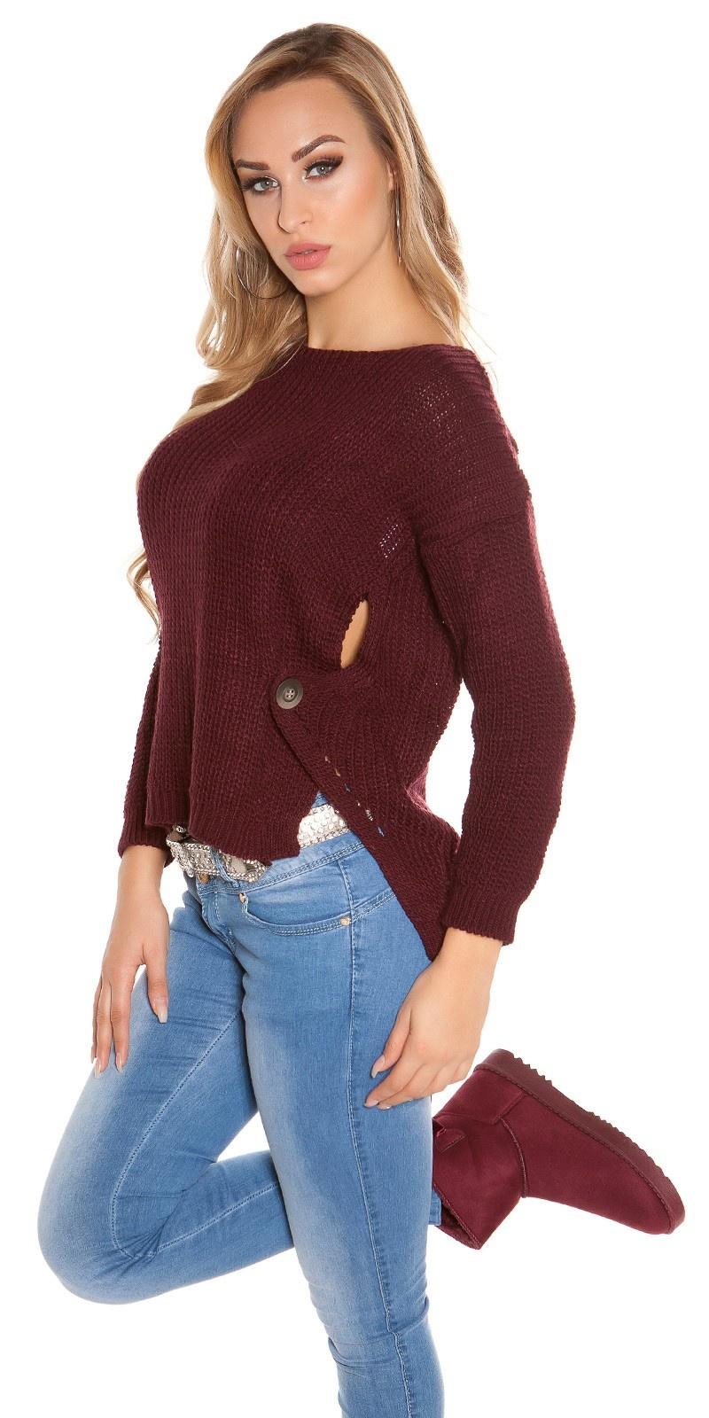 Trendy koucla-hoog/laag-trui met ronde hals bordeaux