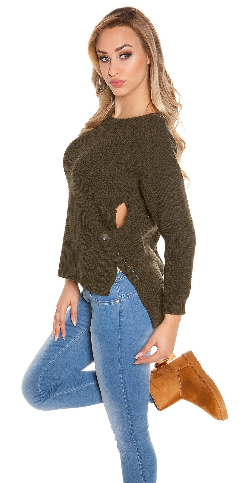 Trendy Koucla-High/Low-jumper with round-neck Khaki