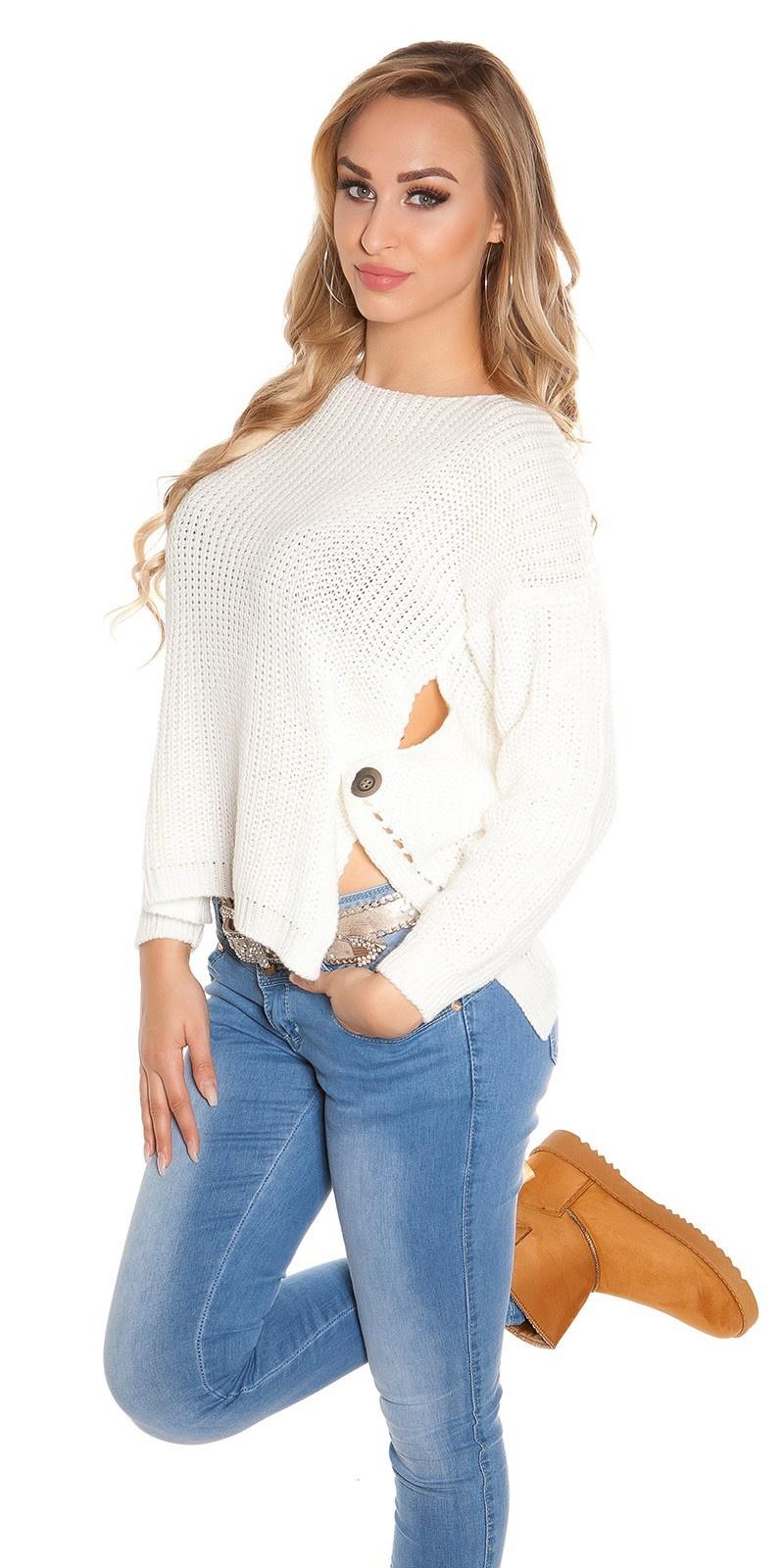Trendy koucla-hoog/laag-trui met ronde hals wit