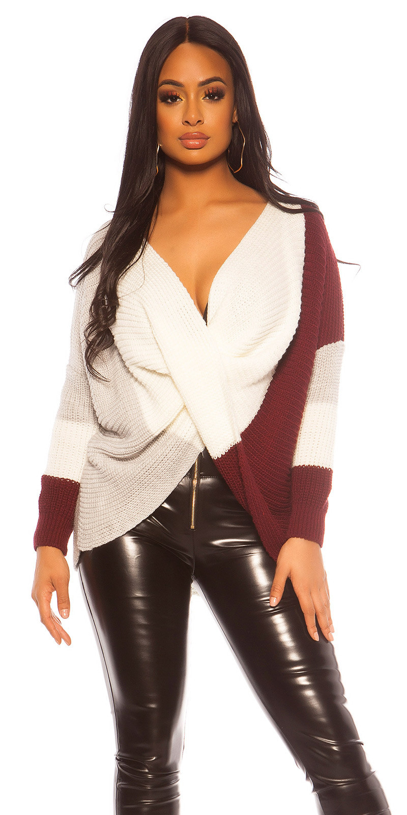 Trendy KouCla rough knit jumper Bordeaux