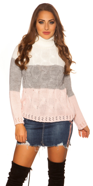 Sexy KouCla turtleneck jumper with cable stitch White