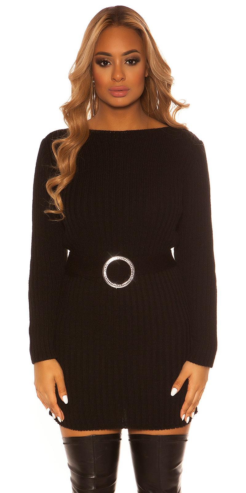 Sexy ruw gebreide jurk met riem zwart
