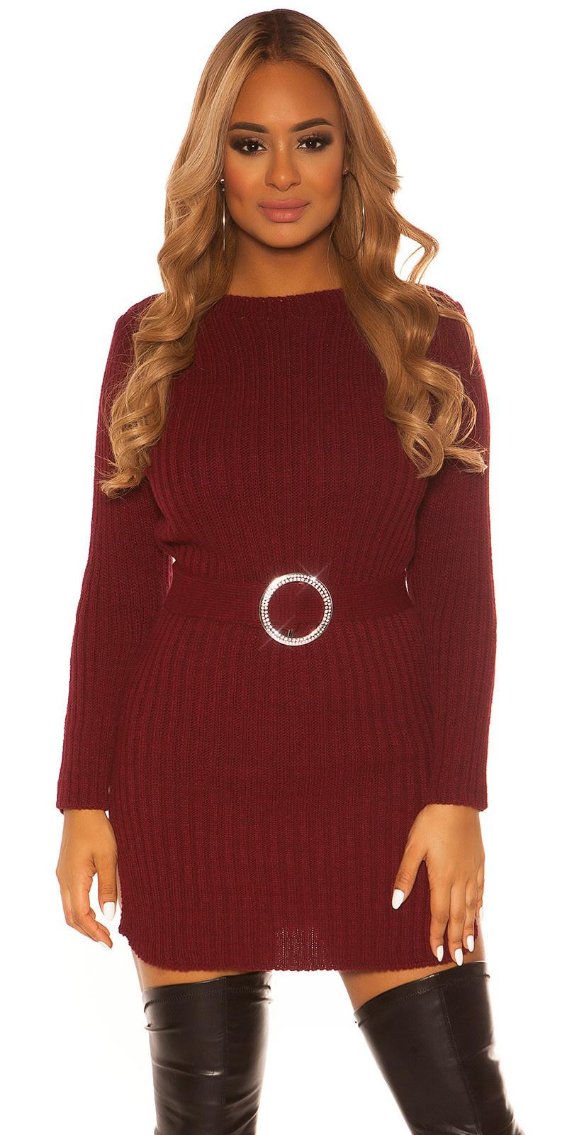 Sexy KouCla rough knit dress WITH belt Bordeaux