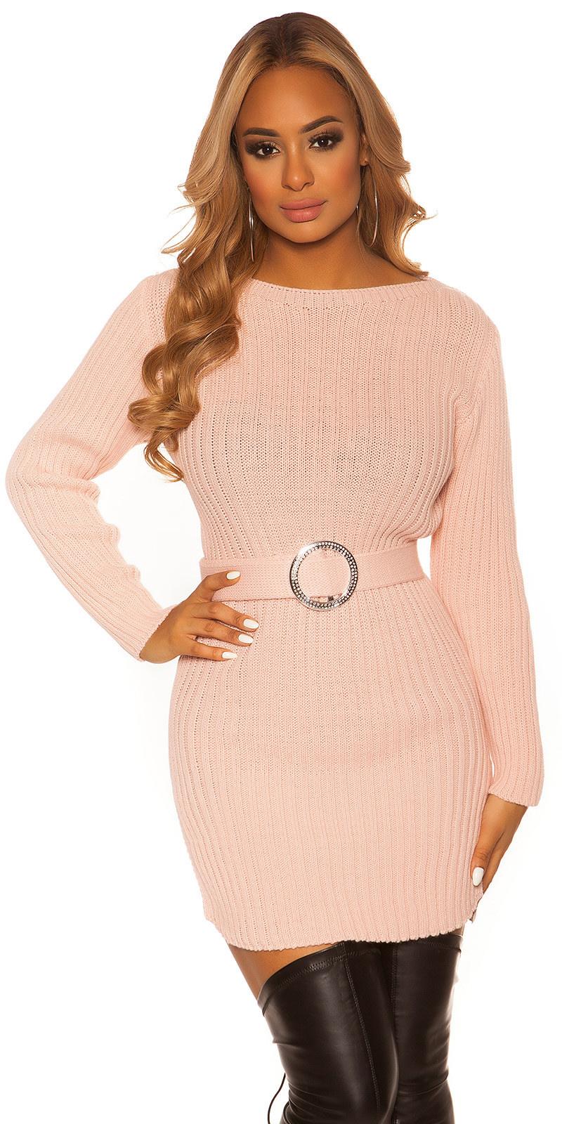 Sexy KouCla rough knit dress WITH belt Pink