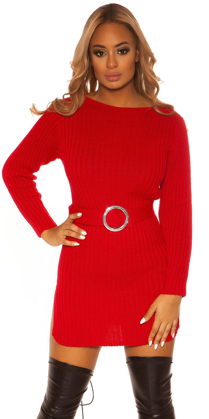 Sexy ruw gebreide jurk met riem rood