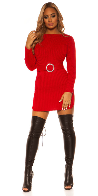 Sexy KouCla rough knit dress WITH belt Red