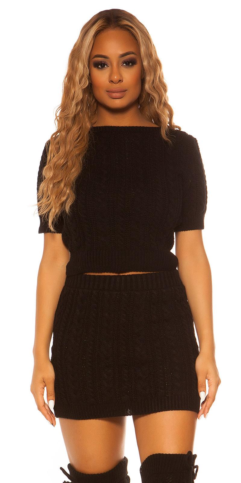 Sexy Koucla Set short jumper&skirt cable stitch Black
