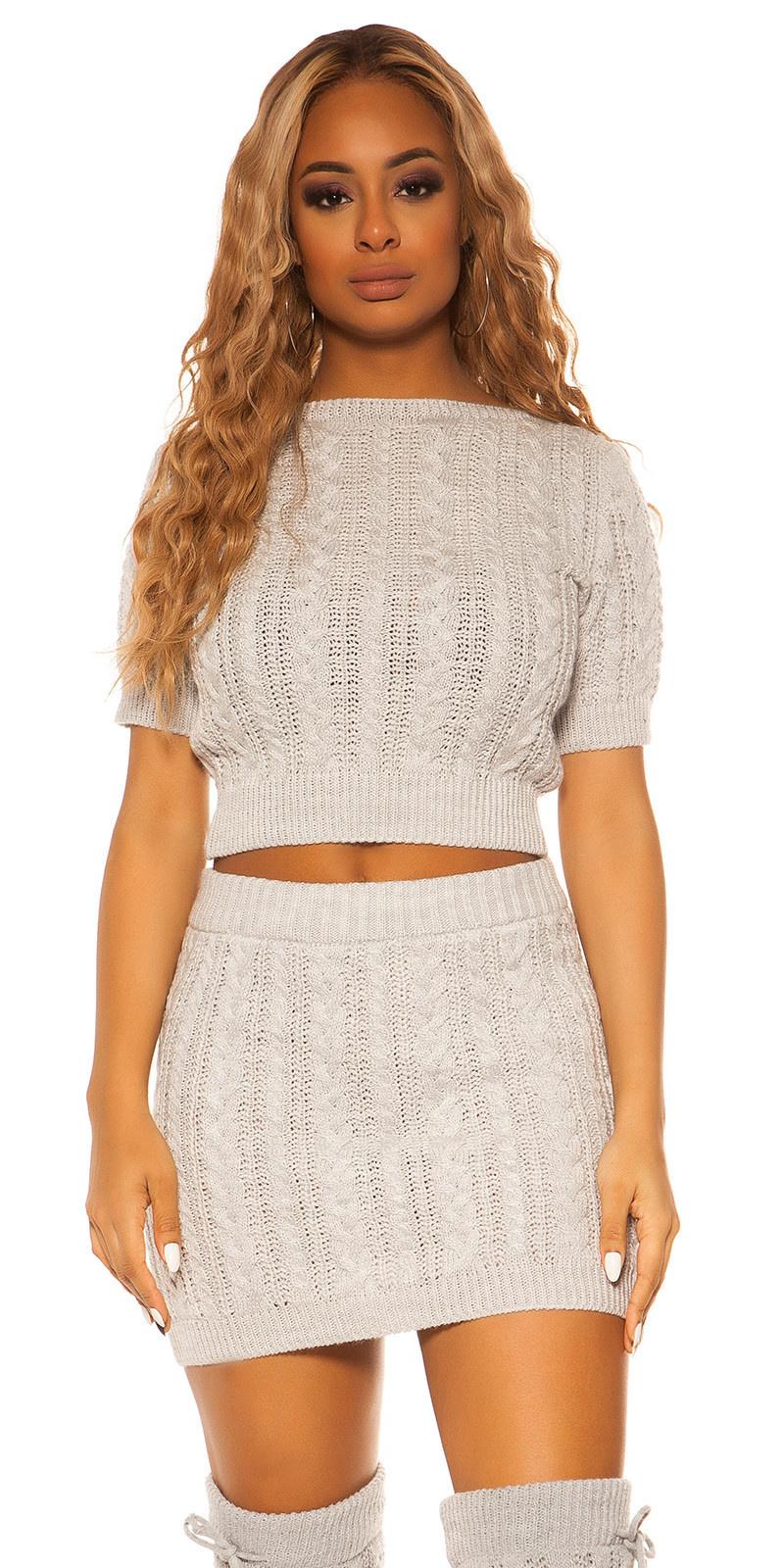 Sexy Koucla Set short jumper&skirt cable stitch Grey