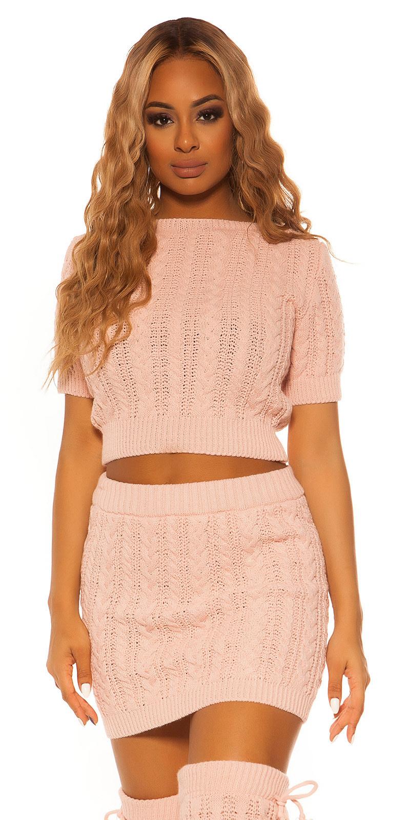 Sexy set korte trui & rok kabelsteekpatroon roze