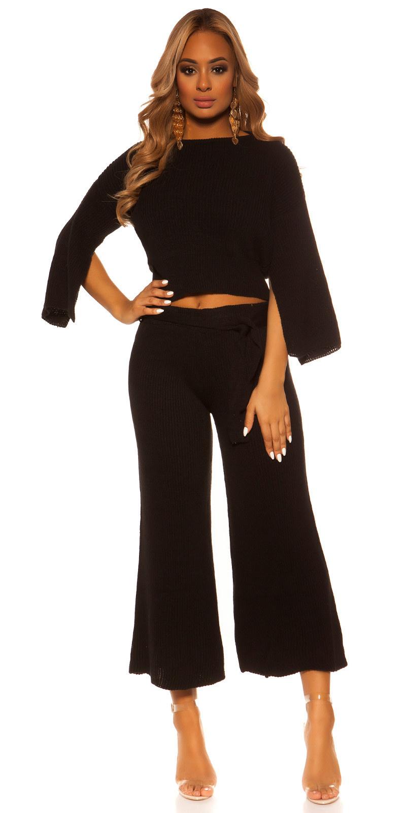 Sexy set korte trui + broek met riem zwart