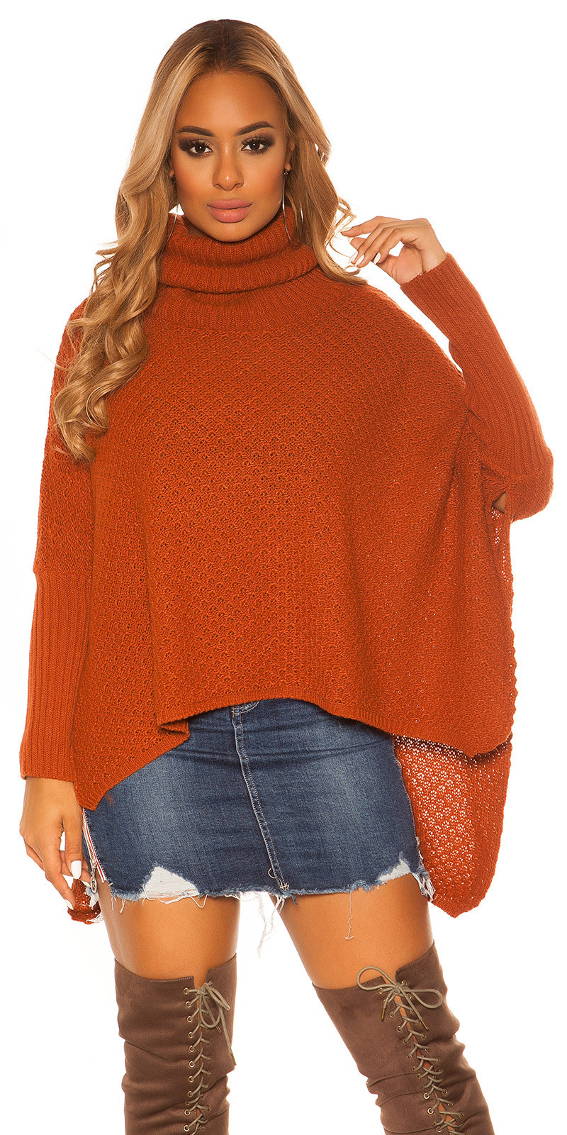 Trendy KouCla turtleneck Poncho/ XXL Jumper Bronze