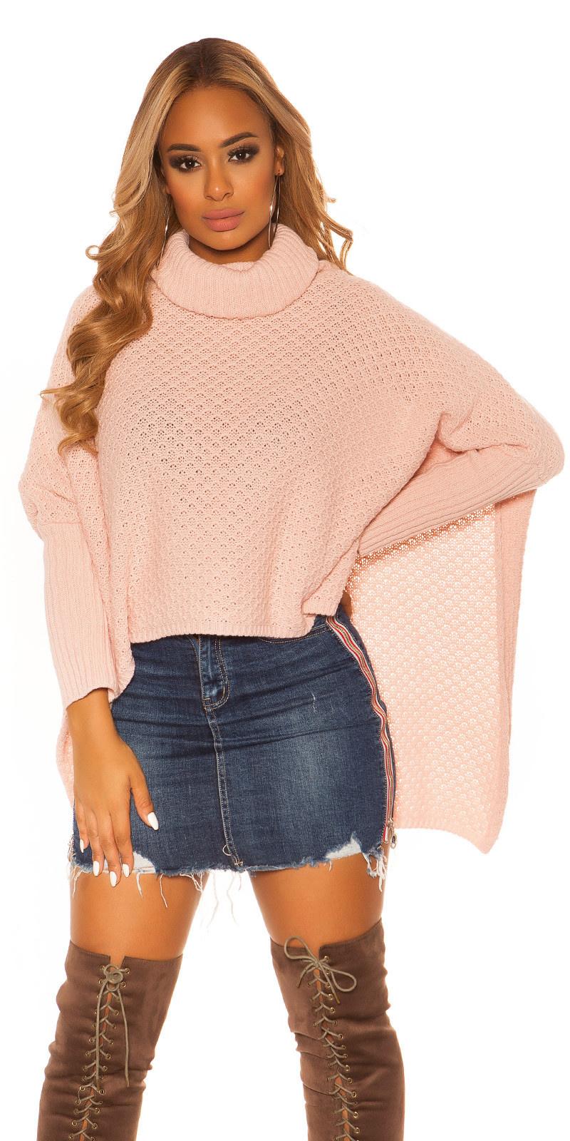 Trendy col poncho xxl trui roze
