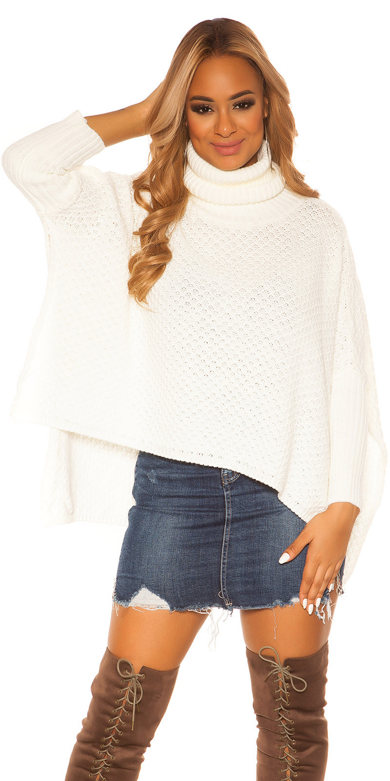 Trendy KouCla turtleneck Poncho/ XXL Jumper White