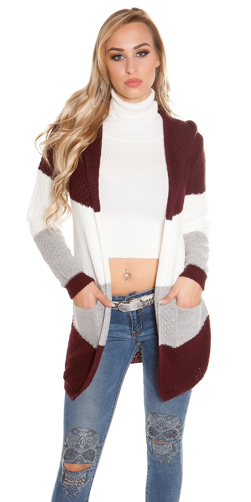 Trendy KouCla hooded cardigan striped Bordeaux