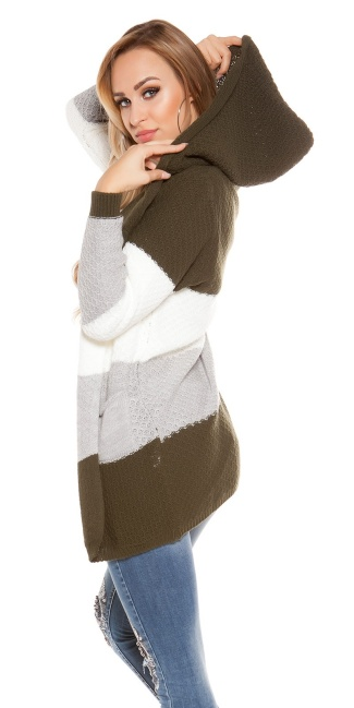 Trendy KouCla hooded cardigan striped Khaki