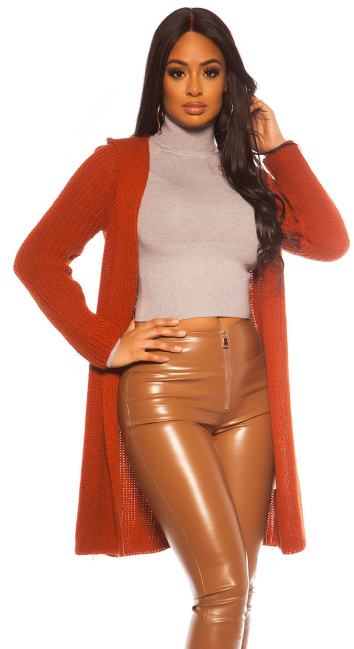 Sexy KouCla chunky knit cardigan with hood Bronze