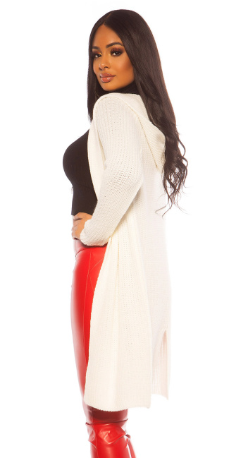 Sexy KouCla chunky knit cardigan with hood White