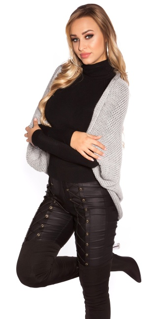 Trendy KouCla oversized knit bolero Grey
