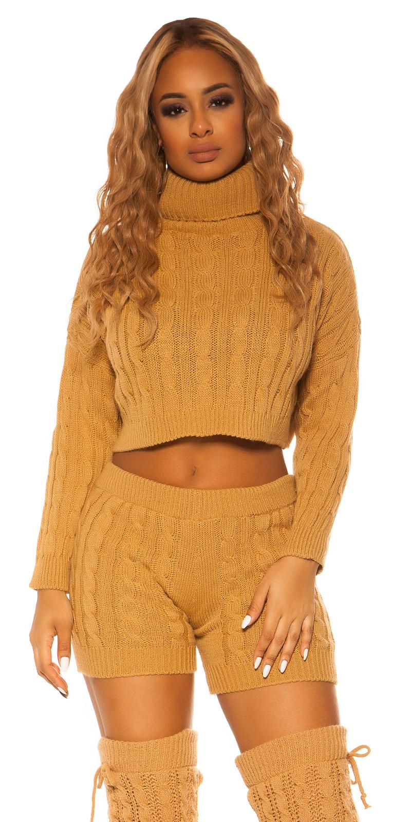 Sexy set gebreide col trui & shorts beige