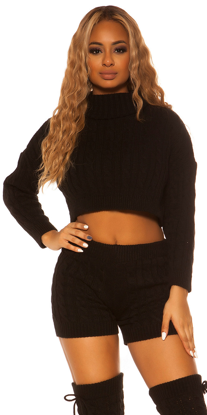 Sexy set gebreide col trui & shorts zwart