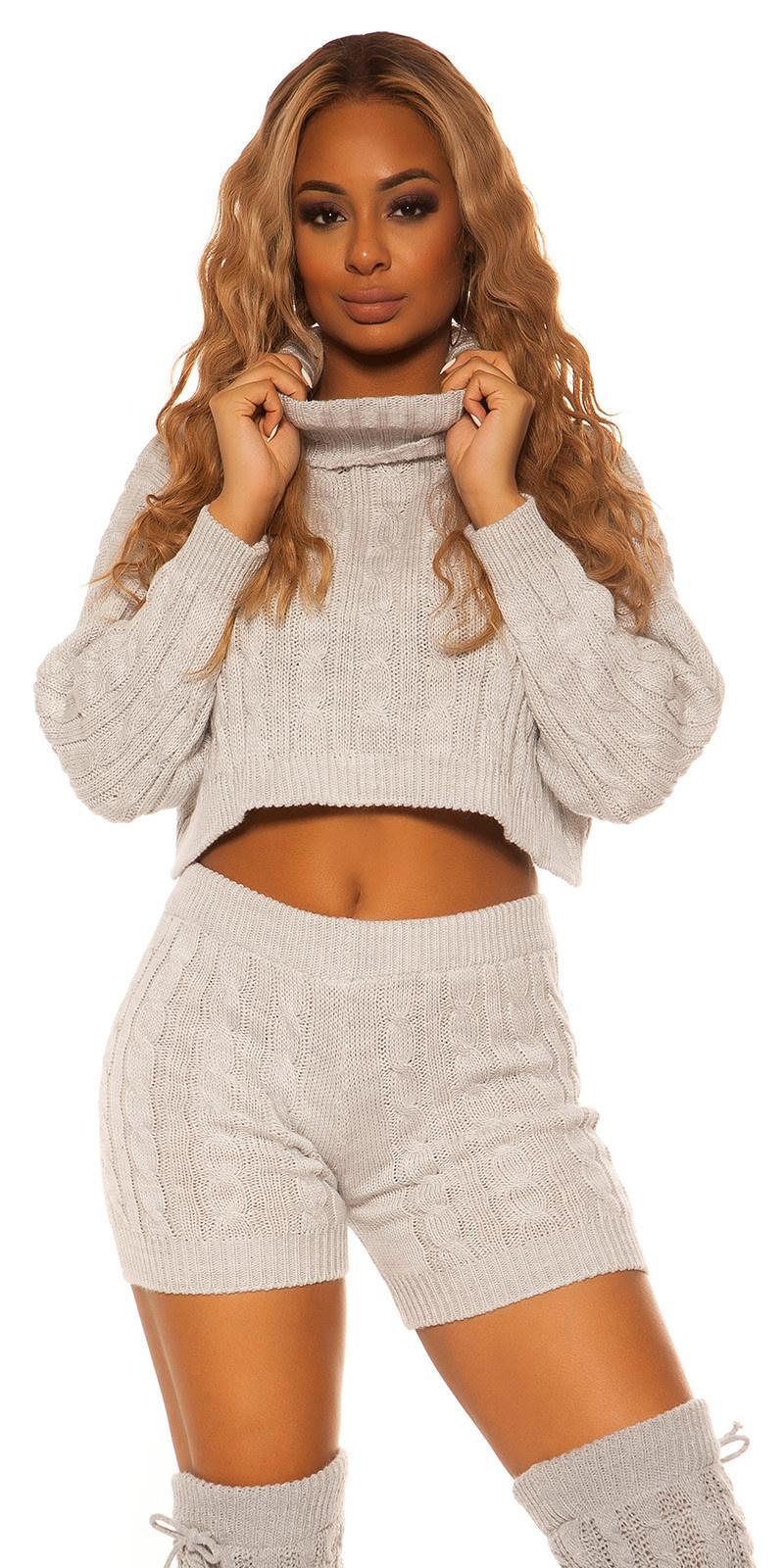Sexy set gebreide col trui & shorts grijs