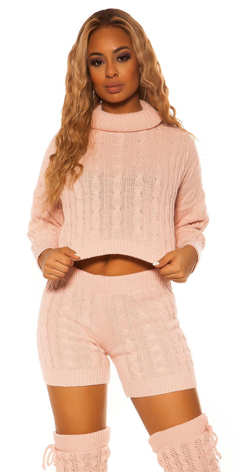 Sexy set gebreide col trui & shorts roze