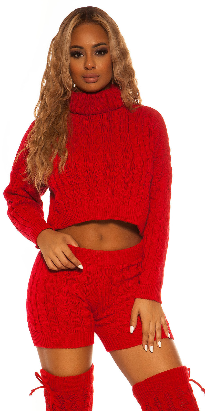 Sexy set gebreide col trui & shorts rood