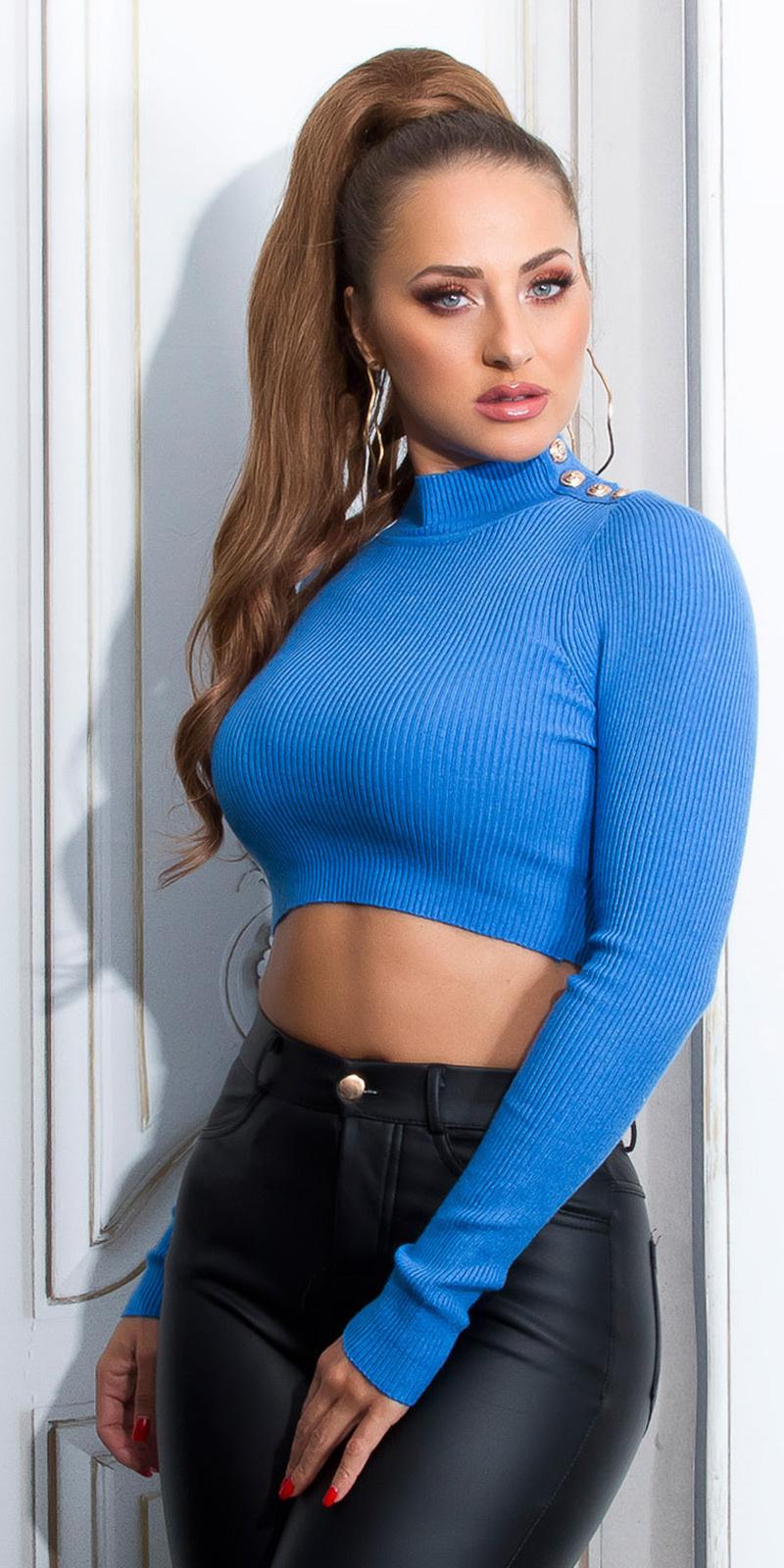 Sexy lange mouw crop trui met knopen blauw