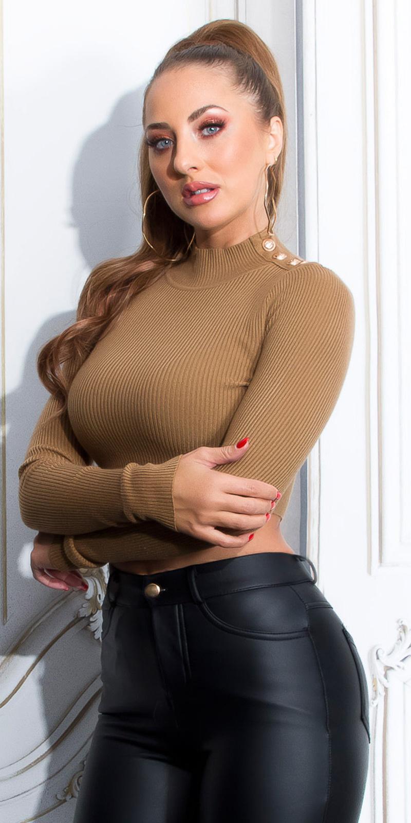Sexy lange mouw crop trui met knopen bruin