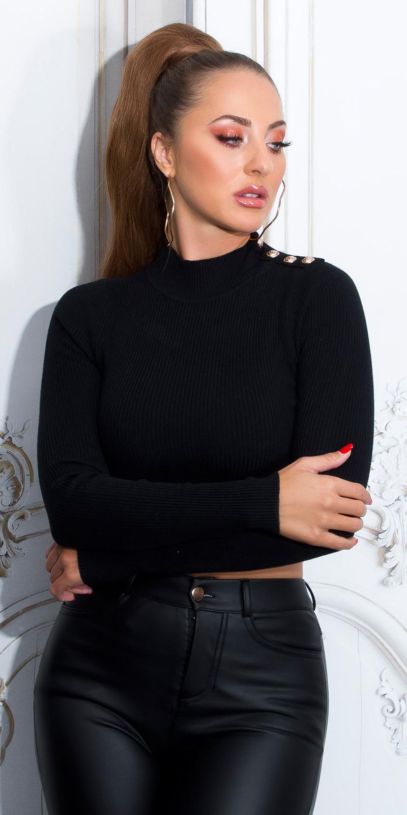 Sexy lange mouw crop trui met knopen zwart