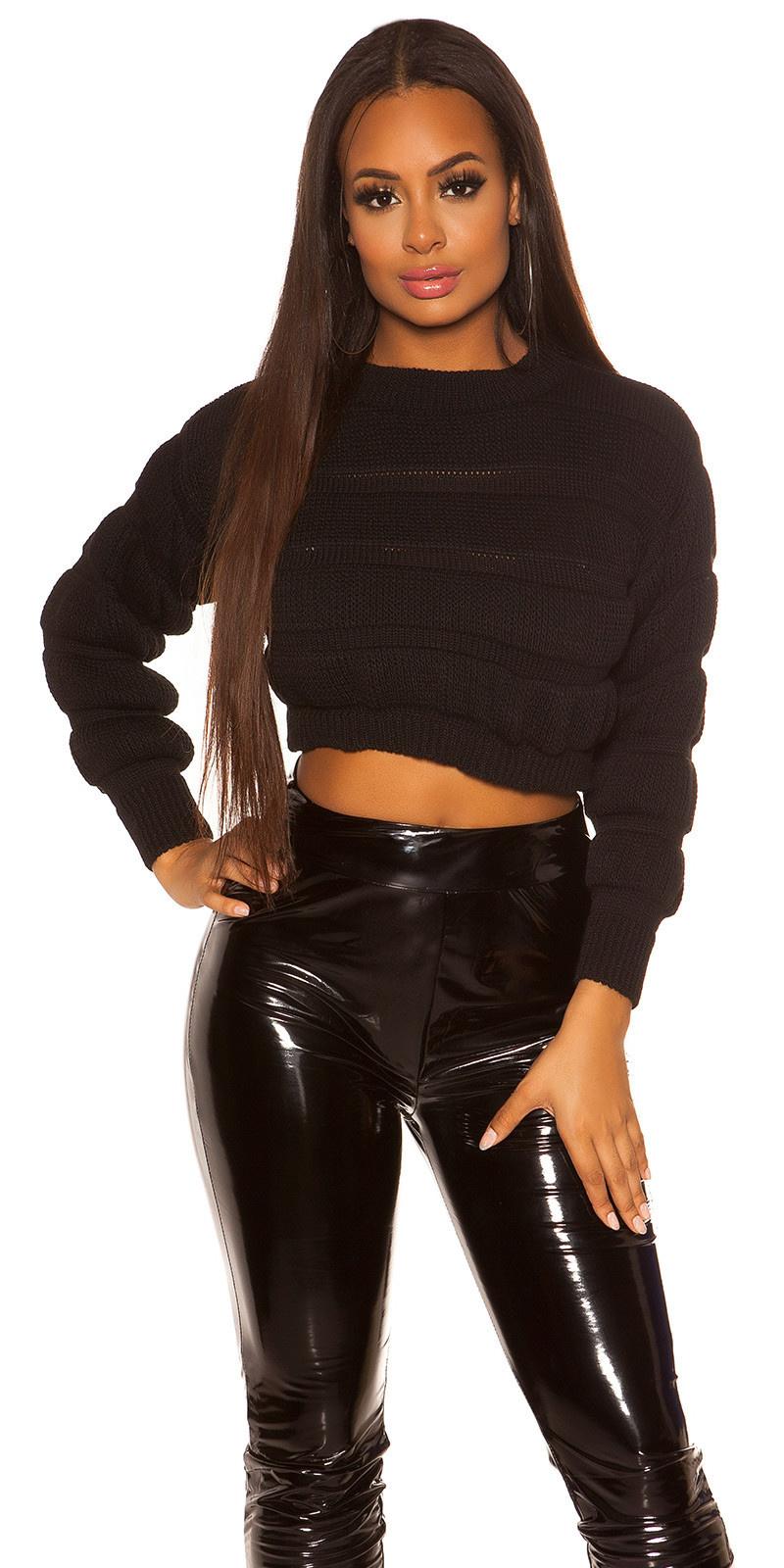 Sexy crop grof gebreide pullover zwart