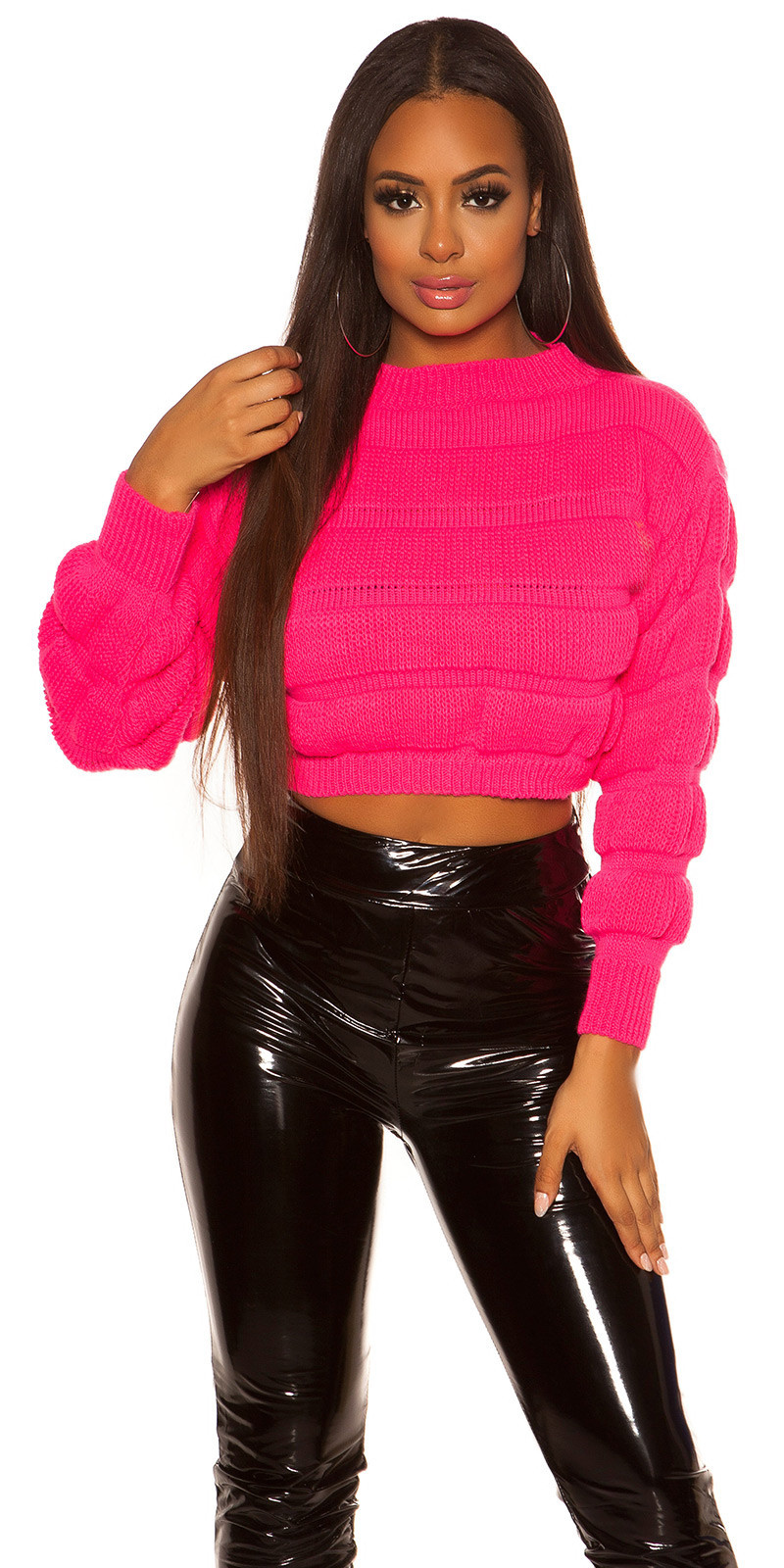 Sexy crop chunky knit pullover Neonfuchsia