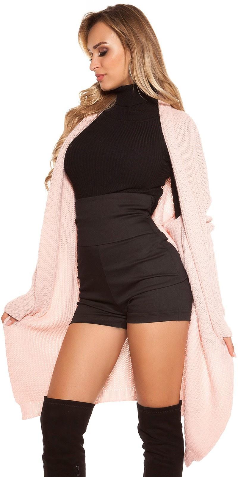 Trendy cardigan xl kraag roze