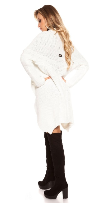 Trendy KouCla cardigan XL collar White