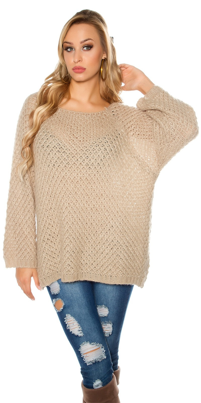 Trendy oversized mohair sweater-trui gehaakte look beige