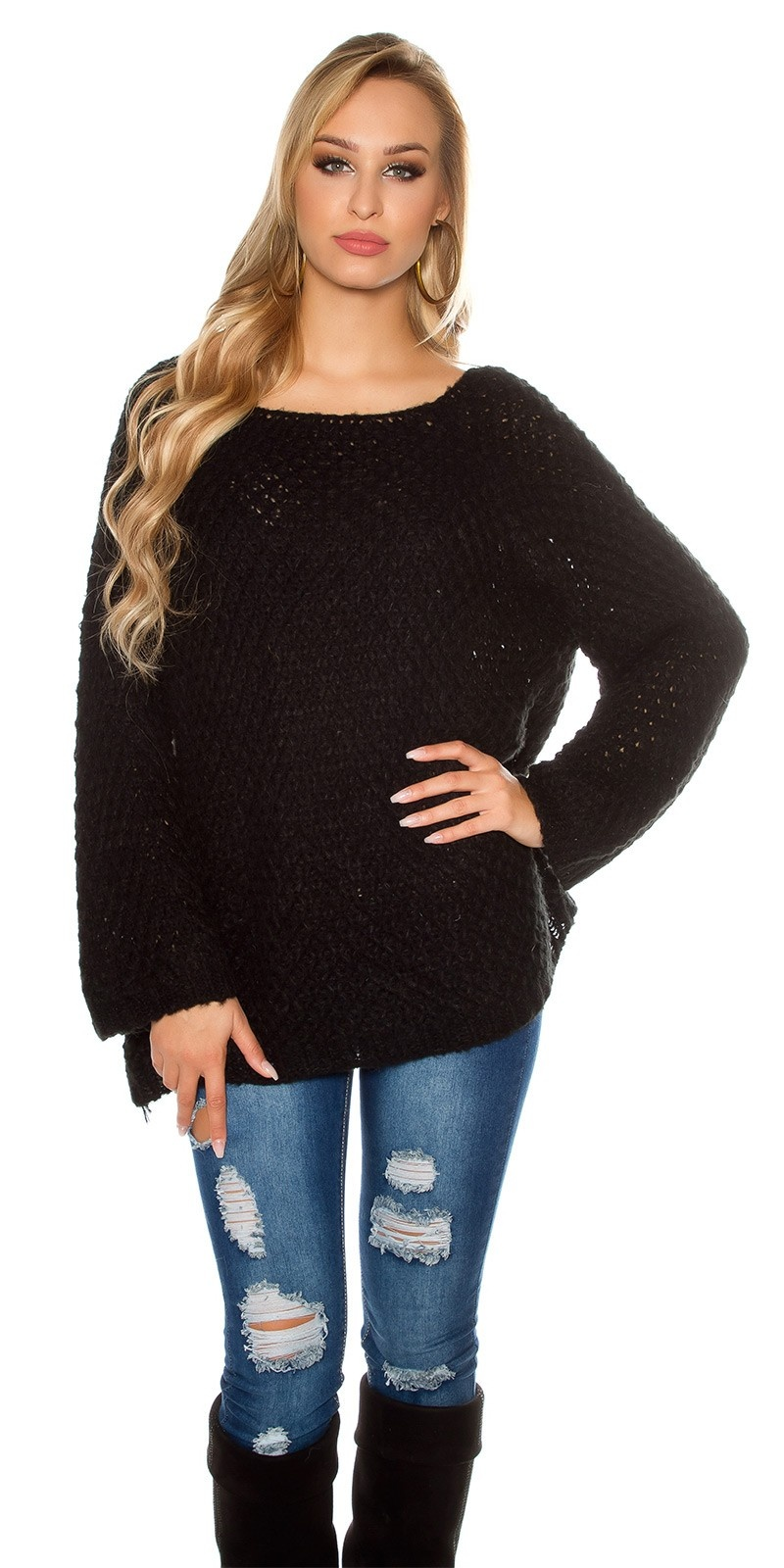 Trendy oversized mohair sweater-trui crochet look zwart