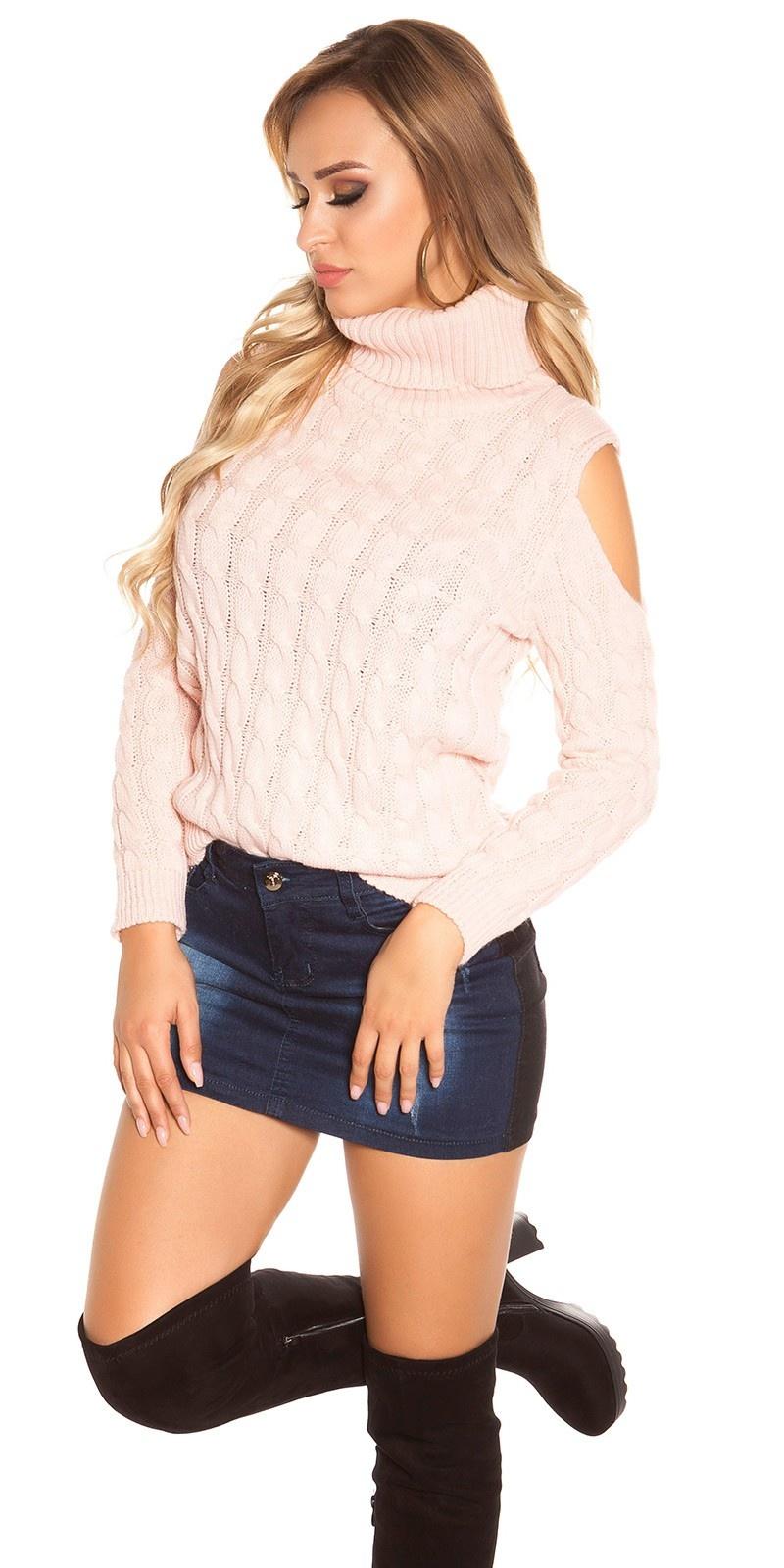 Trendy KouCla Cold Shoulder sweater Pink
