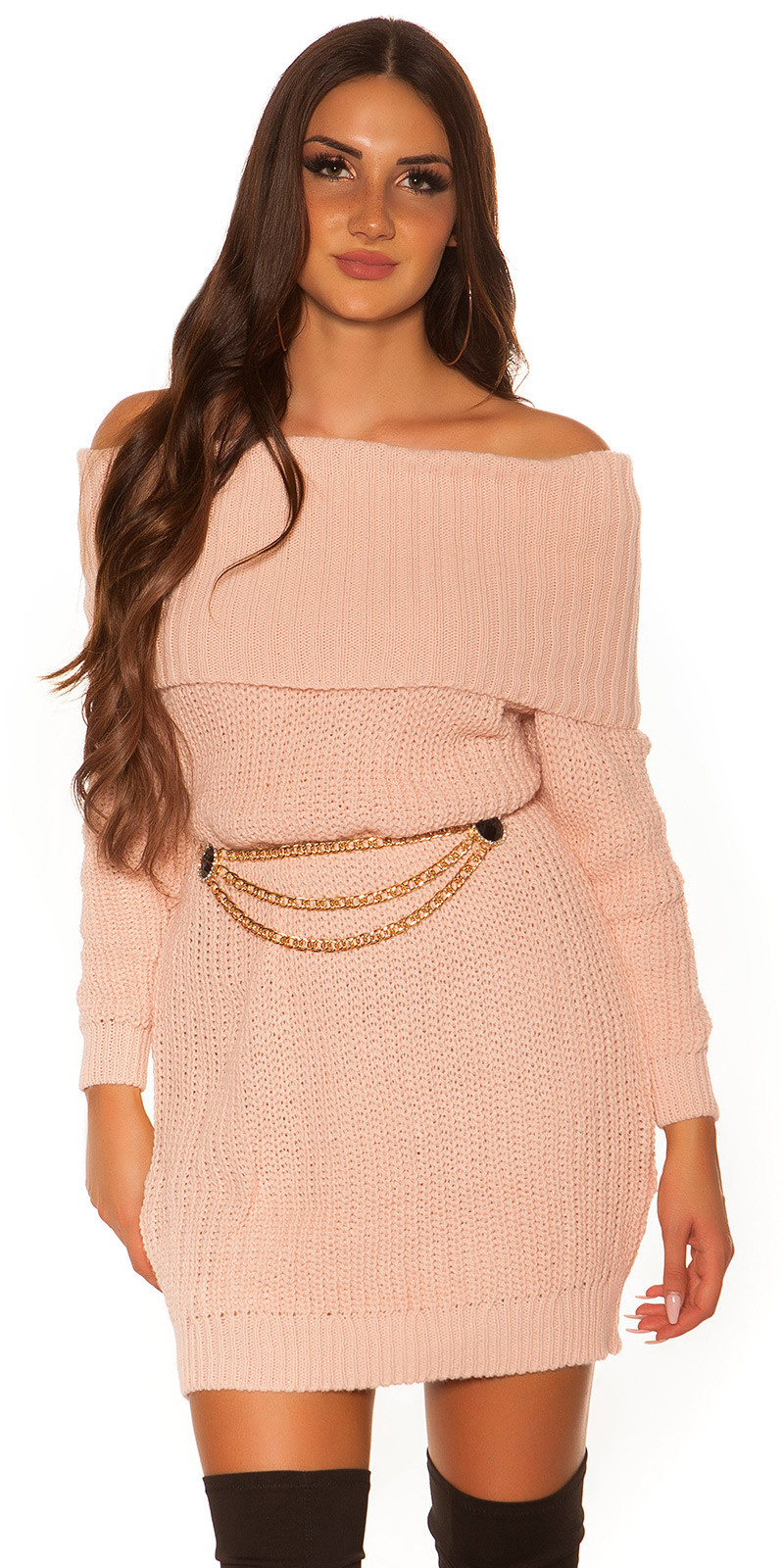 Trendy KouCla turtleneck knitdress Antiquepink