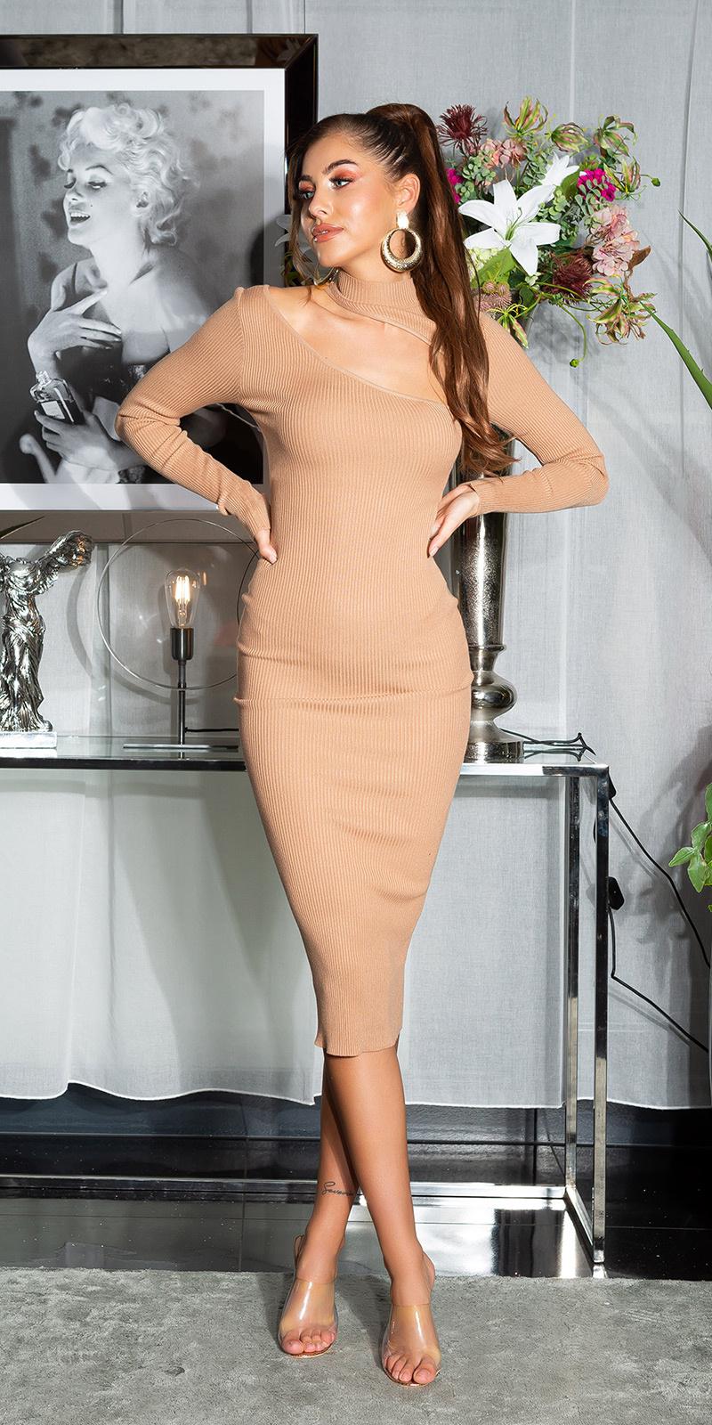 Sexy midi gebreide jurk met uitsparingen bruin