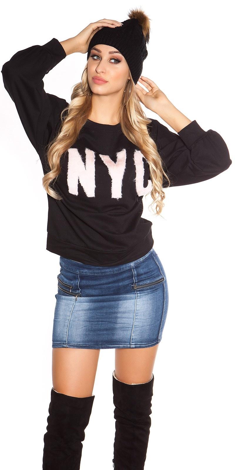 Trendy ronde hals trui nyc zwart